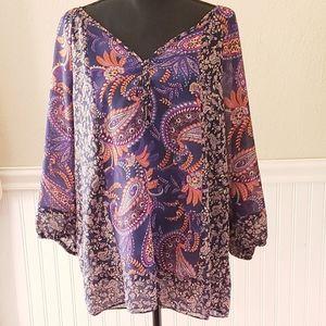 Chaps Boho style blouse
